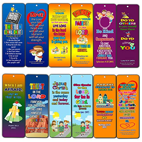 Chirstian - Potenti versi per bibbia in memoria per bambini, confezione da 12, Dieci comandamenti (confezione da 12), Ten Commandments(12-Pack)