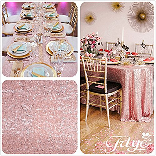 TRLYC 50x72inch Sequin Table Cover Wedding Tablecloths Pink Table Covers Fabirc Shimmer Blush Pink