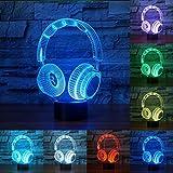 RUMOCOVO® Novedad Colorido DJ Auriculares 3D LED Luz Nocturna Lámpara De Iluminación De Auriculares Para Decoración Del Hogar Navidad Regalo