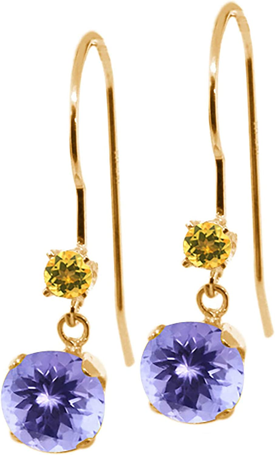1.06 Ct Round bluee Tanzanite Yellow Simulated Citrine 14K Yellow gold Earrings