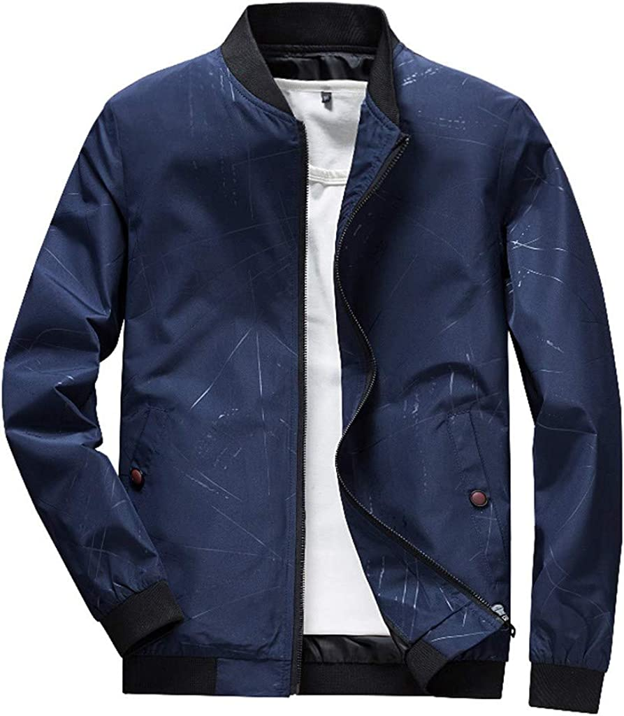 Mens Jacket Tops Stand-up Collar Full Zip Bomber Coat Casual Lightweight Comfy Blouse Regular Fit Active Outwear