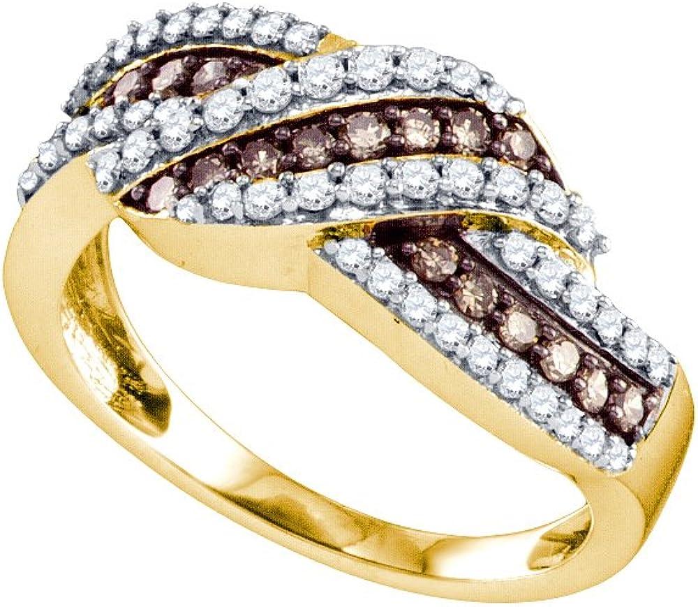 Sonia Jewels 10K Yellow Gold Channel Bro Round Chocolate Set Cut Ranking TOP10 Seasonal Wrap Introduction