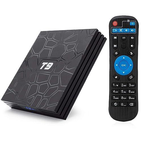 T9 Android 8.1 TV BOX, 4GB RAM 32GB ROM RK3328 Quad Core smart box supports 2.4Ghz WIFI USB 3.0 4K Resolution H.265 BT 4.1