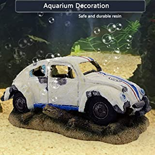 capetsma Aquarium Decorations, Imitation Wreck Car Resin Ornament for Air Stone Bubbler Oxygen Pump Providing dissolved Ox...