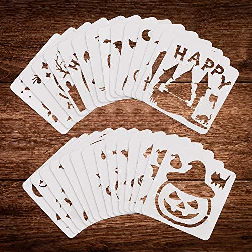 DECARETA 28 Stück Halloween Schablonen Fledermaus Kürbis Schablone Kunststoff Wiederverwendbar Zeichenschablonen Schablone Halloween Zeichnung Malerei Set Deko Malvorlage für DIY Karten Handwerk