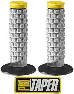 Pro Taper Pillow Top MX Handlebar Grips (Grey/Yellow) With Pro Taper Sticker
