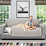 Sofa Shield Original Patent Pending Reversible Large Sofa Protector for Seat Width up to 70 Inch, Furniture Slipcover, 2 Inch Strap, Couch Slip Cover Throw for Pets, Cats, Sofa, Damask Latte Ivory
