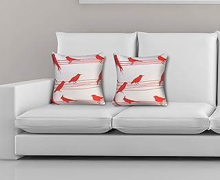 Dekor World Cotton 5 Piece Coral Bird Printed Cushion Cover - 30 cm X 30 cm, Coral