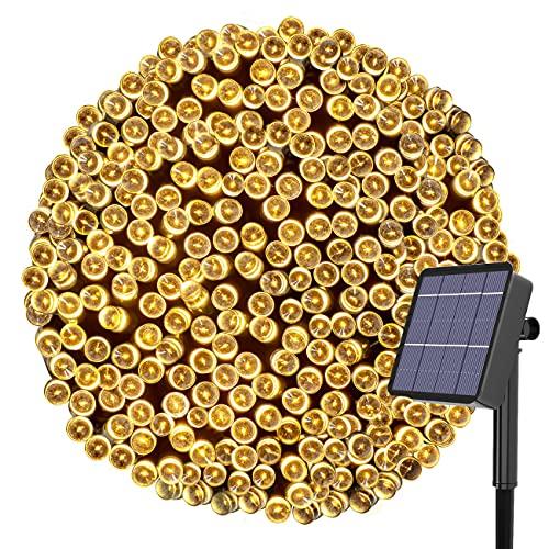 Guirlande lumineuse solaire, Kolpop Guirlande Lumineuse Exterieur 24M 240 LED Solaire Extérieur Etanche avec 8 modes pour Lampe Décoratives pour Jardin, Clôture, Anniversaire, Mariage,Blanc Chaud