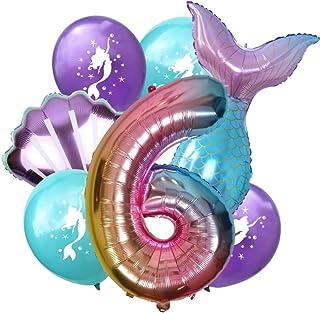 DIWULI, Gran Juego de Globos Sirena, 1x XL número 6 número de Globo + 2X Globo de Papel de Aluminio + 4X Globo de látex 6º cumpleaños del niño niña, Fiesta de Lema, decoración