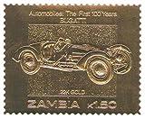 Stampbank 22K Carat Feuille d'or Auto 100 Timbres Classiques de Voiture Bugatti / 1987 / Zambie/MNH