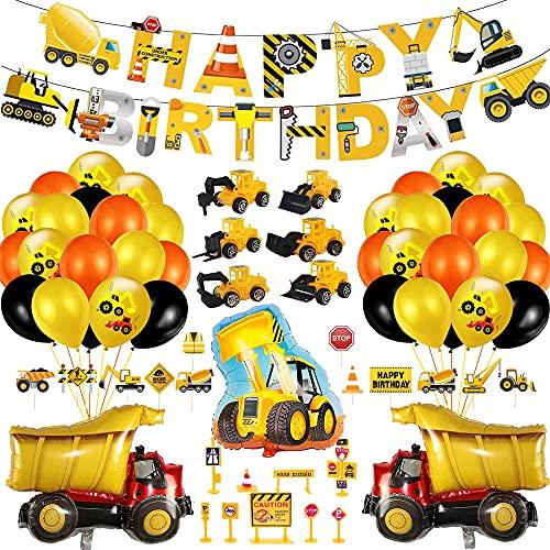 Bagger Kindergeburtstag Deko,Baustelle Kindergeburtstag Party Dekoration,Bagger Geburtstag Deko,Happy Birthday Deko,Bagger Luftballons,Baufahrzeug Baustelle Deko,Geburtstagsdeko Jungen