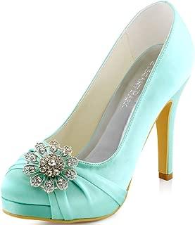 Women Pumps Closed Toe Platform High Heel Buckle Satin Evening Party Wedding Shoes