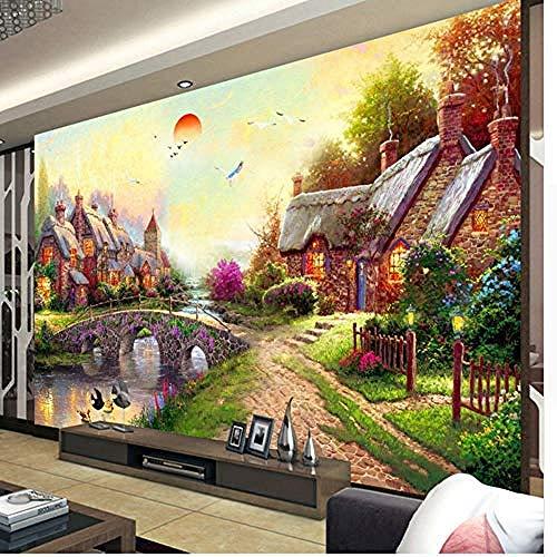 Muurtattoo, voor muren, foto, behang, Europese stijl, waterverf, landschap, 3D, muurschildering, woonkamer, galerie, achtergrond, wanddecoratie, papier 350 x 256 cm