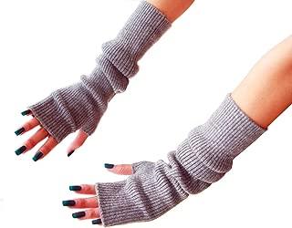RosinKing Women Winter Knit Fingerless Gloves Hand Crochet Thumbhole Warm Mittens Knitted Long Arm Warmers