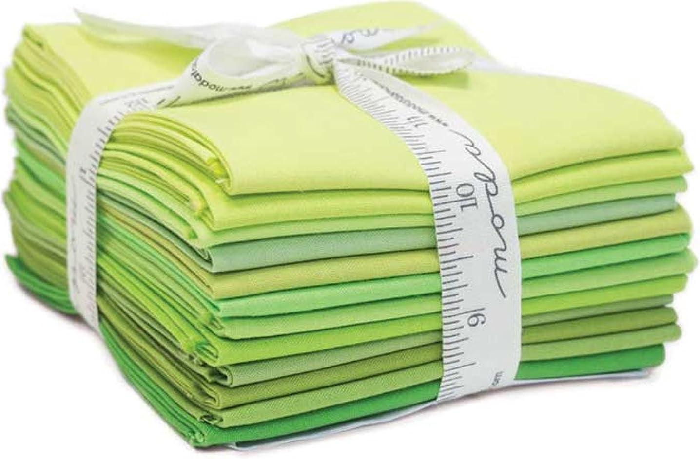 Bella Solids Greens 12 Fat Quarters Moda Fabrics 9900AB 123