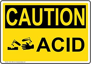 Caution Acid OSHA Safety Sign, 7x5 in. Magnetic for Hazmat by ComplianceSigns