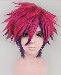 Anogol Hair Cap Short Rose Red Purple Synthetic Anime Cosplay Wigs Men Synthetic Hair