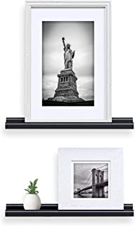 Wallniture Wall Mounted Floating Shelves – 22 Inch Contemporary Design Picture Ledges Display Black Set of 2