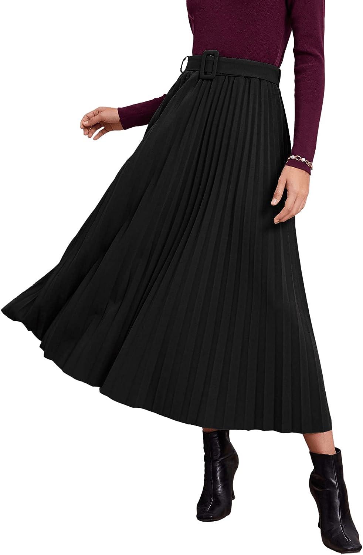 SweatyRocks Women's High Waist Pleated Swing A Line Midi Skirt with Belt