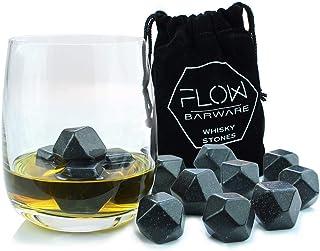 Whisky Stones Eiswürfelsteine aus Granit, wiederverwendbar 9 x Polished Diamond Whisky Stones grau