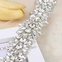 FANGZHIDI Luxury Bling Crystal Rhinestone Applique Trims 1 Yard for Bridal Belt- Silver-1 Yard(1.26