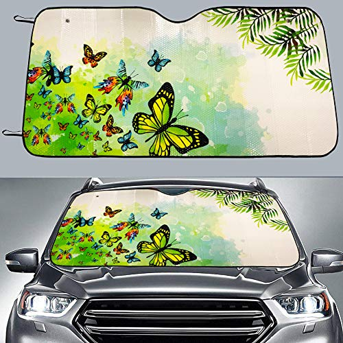 Big Hippo Sun Shade, Windshield Sun Shade Butter-Fly Design Sunshades Keep Vehicle Cool Protect Your Car from Sun Heat & Glare Best UV Ray Visor Protector(Green Size: 58 X 28.5inch)