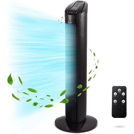 Grunkel - TF-RC SILENCE - Tour de ventilation avec angle d'oscillation automatique de 90°, minuterie jusqu'à 7,5 heures, 3 vitesses, 3 modes et télécommande, 45W
