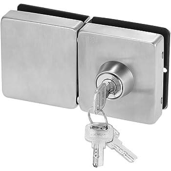NUZAMAS Cerradura de la puerta de vidrio, cerradura de seguridad, cerradura de la puerta de vidrio de acero inoxidable 304 con 3 llaves,vitrina adecuada para el baño del hotel de vidrio de