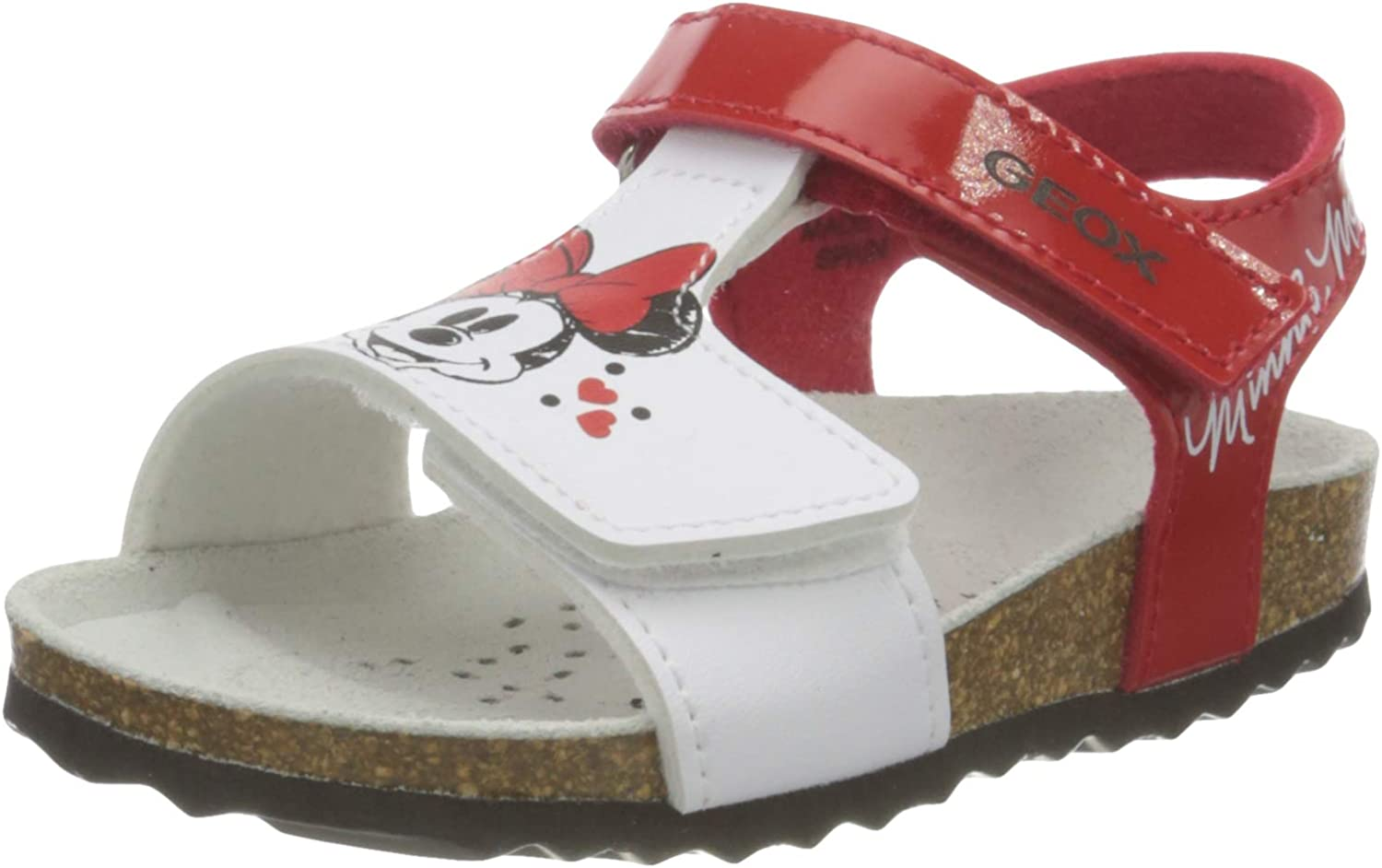 Geox Spring new work one after another Girl's Ankle-Strap Flat White US:5 Red Sandal Shipping included