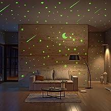 Realistic Glow in The Dark Stars and Moon, 500pcs Glow Stars and Shooting Star, Adhesive Glow Stars for Kids Bedroom,Lumin...