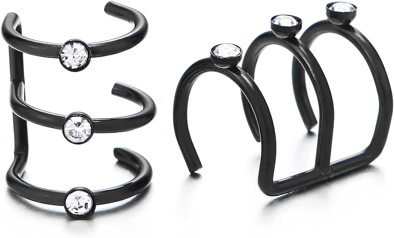 2pc Black Steel Long Ear Cuff Ear Clip with Cubic Zirconia, Non-Piercing Clip On Earrings, Men Women