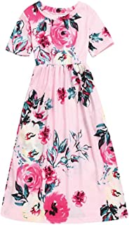 Fashion Toddler Kid Baby Girl Flower Print Princess Party Long Dress Outfits Clothes 2-10 Years
