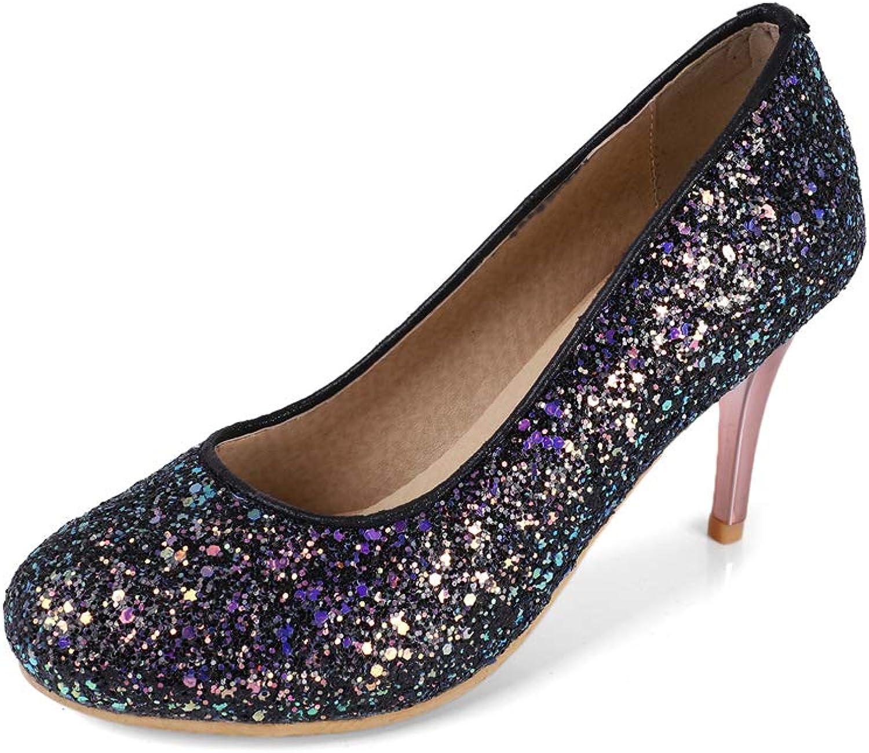 Frauen Frauen geschlossen Zehe Stiletto High Heels Gericht Schuhe pailletten flachen Mund High Heel Stiletto Runde Brautschuhe  liefern Qualitätsprodukt