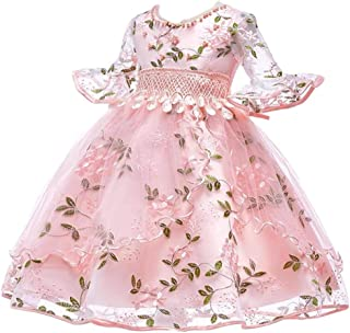 BestGift Pearl embroidery Kids Girls Flower Dress Baby Girl Birthday Party Dresses Children Fancy Princess Ball Gown Weddi...