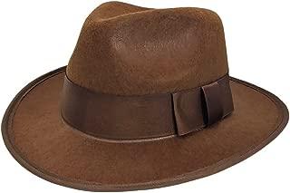 Mens Adventurer Explorer Fedora Hat, Brown, One Size