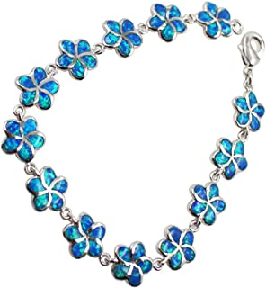 Sinlifu Silver Stylish Charming Opal Link Bracelet Multicolor Bangle Crystal CZ Design for Women Girls