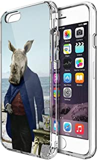 Case Phone Anti-Scratch Cover Creature Animal Mr Rhinos Big Day at The Beach Animals (5.5-inch Diagonal Compatible with iPhone 6 Plus, iPhone 6s Plus)