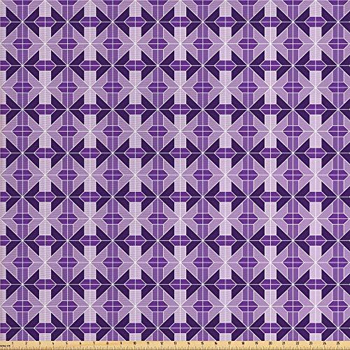 ABAKUHAUS traliewerk Stof per strekkende meter, traditionele Tiles, Decoractieve Stof voor Stoffering en Interieuraccent, 5 m, Lavender Violet