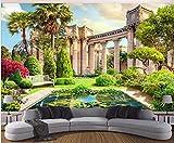 Papel Pintado Fotográfico 350x256 cm -7 piezas Columna romana vista jardín Fotomurales XXL Papel pintado tejido no tejido Dormitorio Pasillo Decoración de Pared decorativos Murales moderna de Diseno