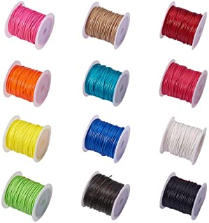 PH PandaHall Elite 12 Rolls 1Mm Waxed Polyester Cord Thread Beading String 10.9 Yards Per Roll Spool 12 Colors For Jewelry...