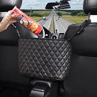 KIWEN Car Handbag Holder,Leather Handbag Holder For Car Front Seat, Automotive Console Organizer, Car Accessories,Automotive Seat Back Organizer Bag For Men Women Interior