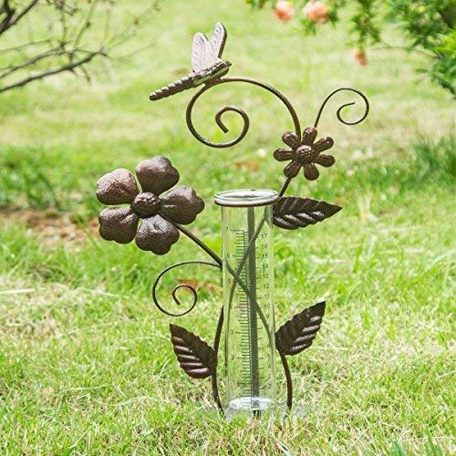 "7"" Dragonfly Metal and Glass Spring Rain Gauge,Outdoor Decor"