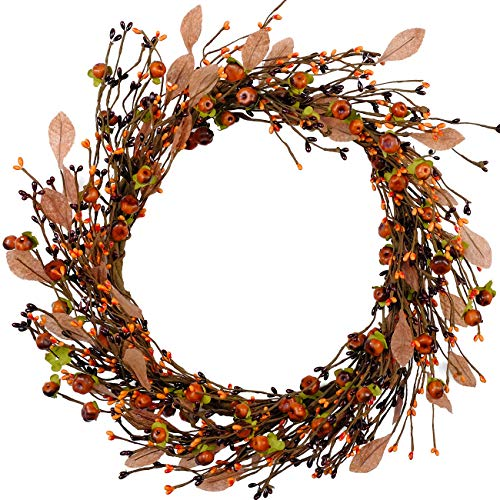 idyllic Mini Pumpkin Pip Berry Wreath for Front Door 16 inches Wreath Indoor Artificial Twig Wreath for Festival Celebration Party Decoration