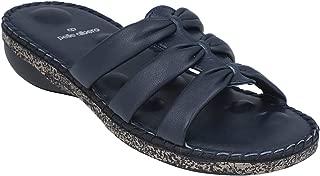 pelle albero Womens Blue Flat Slippers