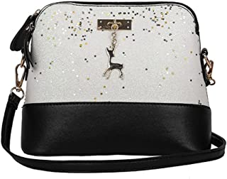OVERMAL Women's leather Fashion Leather Splice Crossbody Tote Bag