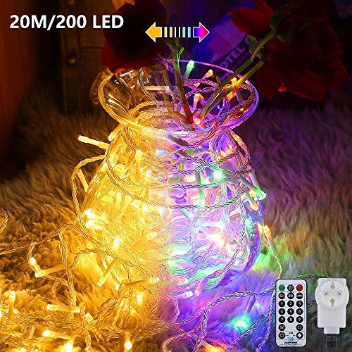 LED Lichterkette Außen, Ollny 20M 200 LED Lichtvorhang mit 11 Modi Fernbedienung, Warmweiß und Bunt, Dimmbar, Lichterketten für Innen Outdoor Weihnachten Party Garten Hochzeit Deko