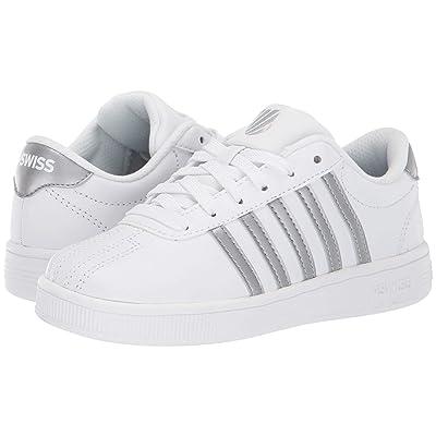 K-Swiss Classic Pro (Little Kid) (White/Silver) Shoes
