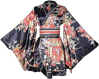 レディース 着物風 バスローブ ミニ着物ドレス フリル裾 リボン結び 帯付き サテン生地 前開き 和風 おしゃれ 派手 ショート浴衣 セクシー ルームウェア