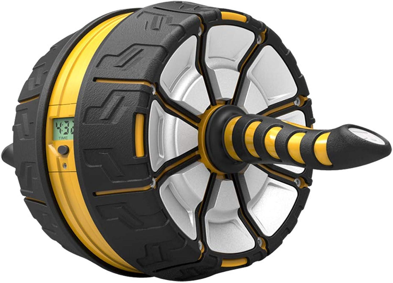 Abdominal Wheel Men and Women Roller Abdomen Trainer Abdomen Home Mute Fitness Equipment (color   Yellow, Size   45  23.5cm)